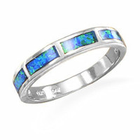 Sterling Silver Inlaid Blue Opal Ring