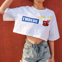 Women Loose Casual Fashion Letter Print Short Sleeve T-shirt Crop Tops
