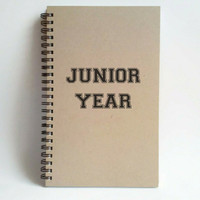 Junior Year, 5x8 writing journal, custom spiral notebook, personalized brown kraft memory book, small sketchbook, college, high school