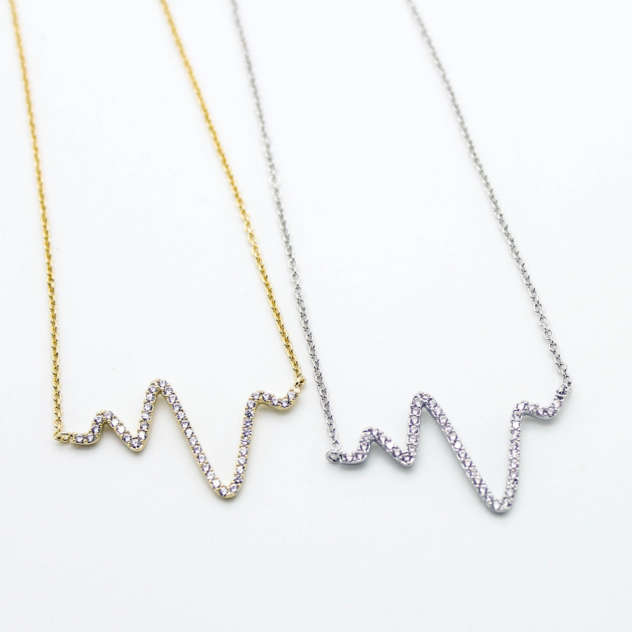 Image of Heart beat wave necklace