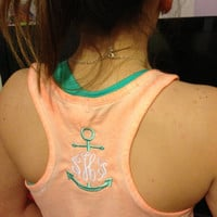 Monogram racerback tank with or without Anchor