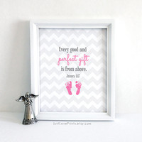 Every good and perfect gift is from above - James 1:17 - Catholic Baby Nursery Art - 8x10 Print