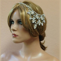 Bridal headband, rhinestone headband, Great Gatsby hair jewelry, wedding hair accessory, bridesmaid headband, 1920's jewelry
