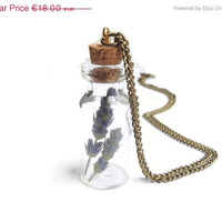 ON SALE Dried lavender glass vial pendant, Purple flowers in bottle necklace with cork, Beach jewelry, Boho