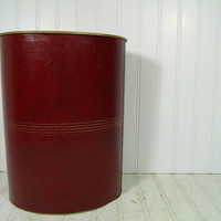 Vintage Burgundy Leatherette with Gold Tooling Brassy Metal Oval Waste Basket - Mid Century Masculine Library Cordovan Covered Trash Bin Can