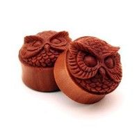 Sono Wood Owl Face Plugs - 1 Inch - 25mm - Sold As a Pair