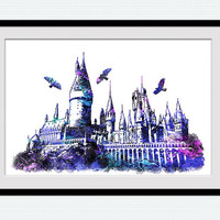 Hogwarts poster, Hogwarts watercolor print, Harry Potter, castle, fantasy, colorful, silhouette, nursery, kids room, wall art decor, W563
