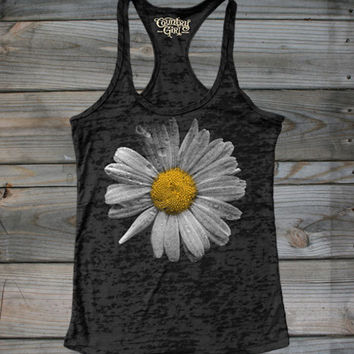 Juniors Country Girl® Daisy Burnout Racerback Tank - Country Fashion Clothing