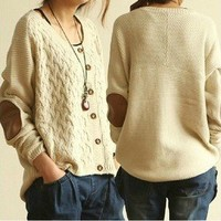 Vintage Cross flower Type Sleeve Patch Loose Cardigan Sweater