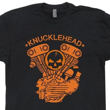 Knucklehead Motorcycle Engine T Shirt Vintage Biker Tee