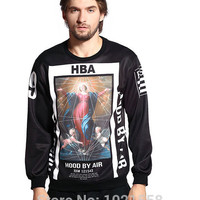New Arrival Women/Men Hood By Air HBA Sweatshirt Long Sleeves O-neck Red Punk Graphic Sweatshirts Hip hop Top Plus Size