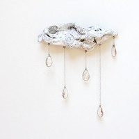 Driftwood Cloud with Vintage Crystal Raindrops by GiftsandStars