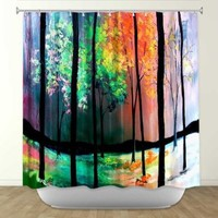 Shower Curtain Artistic Designer from DiaNoche Designs by Artist Aja Ann Unique, Cool, Fun, Funky, Stylish, Decorative Home Decor and Bathroom Ideas - The Four Seasons