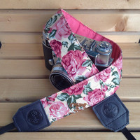 DSLR camera strap,Solf Pink Rose Camera Strap, leather camera Strap ,Gift for her