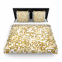 """Anneline Sophia """"Squiggles in Gold"""" Yellow White Woven Duvet Cover"""