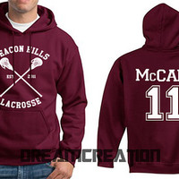 McCALL 11 Beacon Hills Lacrosse Wolf 11 Number  Teen Unisex Hoodie - Tumblr Text - Part 1