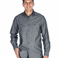 Noble Mount Mens Comfort-Fit Cotton Chambray Casual Shirt