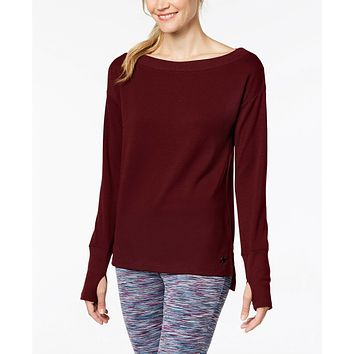 Ideology Womens Boat-Neck Long-Sleeve T-Shirt Vintage Wine Small