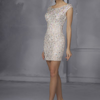 Mori Lee 9284 - Champagne Beaded Lace Fitted Short Prom Dresses Online