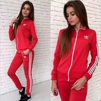 A ADIDAS new women's printed logo long sleeve sweater suit red
