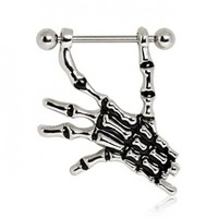316L Surgical Steel Nipple Ring with Skeleton Hand - 14g (1.6mm), 3/4