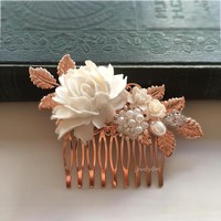 Pemberly - Grand Rose Gold Wedding Comb