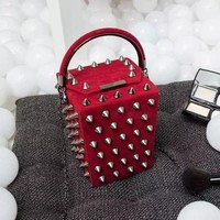 2017 New small box package rivets box handbag shoulder bag Women Messenger bag tide package Ladies Red handbags Famous Brand