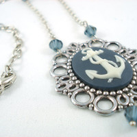 Anchors Away Ivory and Navy Blue Anchor Cameo by angelyques