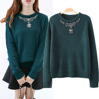 Artificial Diamond Jewel Accessories Embroidered Long Sleeve Pullovers Sweaters