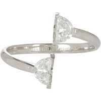"Diamond & White Gold Bisected ""Solitaire"" Ring"