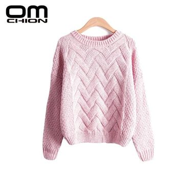 OMCHION Pull Femme 2018 Autumn Winter Women Sweaters And Pullovers Korean Plaid Thick Knit Mohair Sweater Loose Jumper LMY12