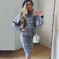 Gagaopt 2016 Brand Women Winter Suit Midi Black Plaid Skirt Suit 2 Two Piece Skirt Set Loose Pullover Sweater and Pencil Skirt