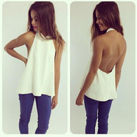Backless Back Zippered T-Shirt