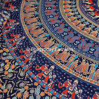 Hippie Mandala Indian Tapestry, Blue Cotton Mandala Bed cover In Tradional Bohemian Block Printed Bed Sheet BedSpread Wall Hanging Throw Art