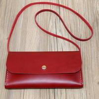 Leather Wallet, Wristlet Woman Wallet, Personalized Bag, Monogram Clutch, Wine Red Leather Bag, Women's Purse,Magnetic Closure,Gift Box,N463
