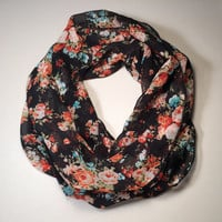 Spring, Summer Lightweight Infinity Scarf, Loop Scarf, Circle Scarf - Vintage Flower Print, Black with Roses, Mother's Day, Birthday, Easter