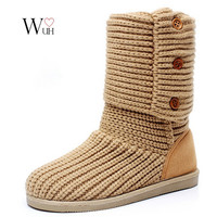 Free shipping new plush snow boots out sole high-leg knitted boots