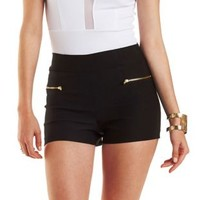 Black Zipper-Trim High-Waisted Shorts by Charlotte Russe