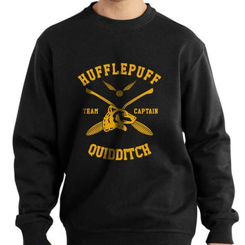 Hufflepuff Quidditch team Captain YELLOW print on Black Crew neck Sweatshirt