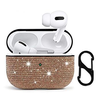 HIDAHE AirPods Pro Case, Case for AirPods Pro, Airpods Pro Skin, Airpods Pro Accessories, Bling Glitter AirPods Pro Case Cute for Girls Kids Protective Case for AirPods Pro Charging Case,Rose Gold