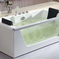 EAGO AM196HO  6' Clear Rectangular Whirlpool Bath Tub for Two w Fixtures, Inline Heater & Ozone Disinfector