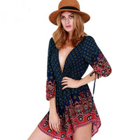 Loose V Neck Print Romper