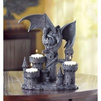 Dragon And Castle Tealight Candle Holder