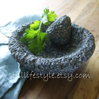 Molcajete Stone Mortar Pestle Spice Grinder Small Size Lava Rock Stone Guacamole Salsa Hispanic Mexican Cooking Culinary Craft Tool
