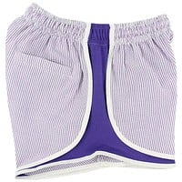 Shorties Shorts in Lavender Seersucker by Lauren James