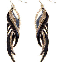 Black Twisted Feather Drop Earrings