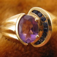 Size 8 - Vintage 10K Gold Amethyst Ring With Channeled Sapphire Stones