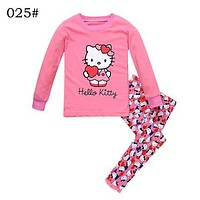 Children Autumn Long Sleeve Tops+Pants Set Hello Kitty Cartoon Pattern Pajamas High Quality Kids Cotton Mickey Sleepwear Set