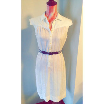 Vintage White Leslie Fay Button Down Dress Size Small