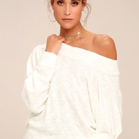 Free People Palisades White Off-the-Shoulder Sweater Top